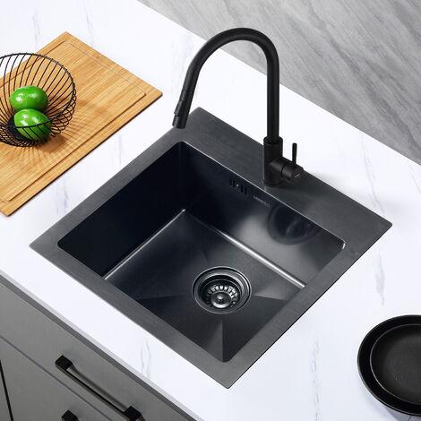 Lonheo Évier Cuisine 1 bac 49*49 cm Acier inoxydable Évier à encastrer ou Sous plans Évier Nano noir Avec Siphon et Trop-Plein,Anti-odeur
