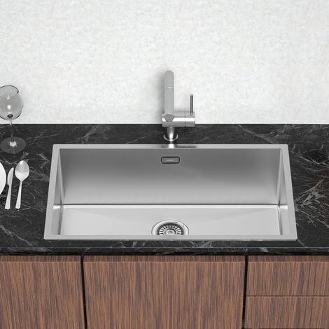 Lonheo Évier Cuisine 1 Bac 74x44x20cm Évier sous plan en Acier Inoxydable 304 pour Cuisine avec Système de Drainage