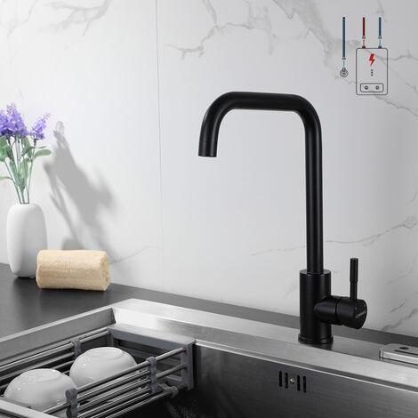 Lonheo Küche Wasserhahn Niederdruck Armatur Schwarz Küchenarmatur Mischbatterie Einhebelmischer für Wasserboiler