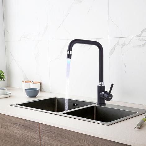 Lonheo LED Küchen Wasserhahn Schwarz Armatur Hochdruck Küchenarmatur 360°schwenkbar mit Temperaturanzeige
