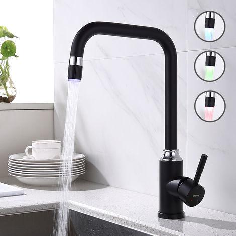 Lonheo LED Küchenarmatur Spültischarmatur Mischbatterie Küche Wasserhahn Schwarz Armatur