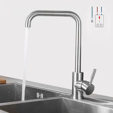 LONHEO Niederdruck Wasserhahn aus Edelstahl | Die Küchenarmatur ist 360° Schwenkbar und für Kaltwasser und einen Wasserboiler konzipiert, 7 Form