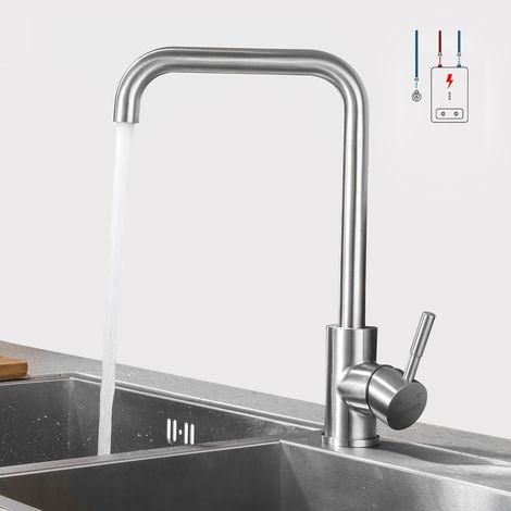 LONHEO Niederdruck Wasserhahn aus Edelstahl | Die Küchenarmatur ist 360° Schwenkbar und für Kaltwasser und einen Wasserboiler konzipiert