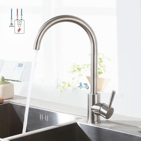 LONHEO Niederdruck Wasserhahn aus Edelstahl | Die Küchenarmatur ist 360° Schwenkbar und für Kaltwasser und einen Wasserboiler konzipiert, J Form