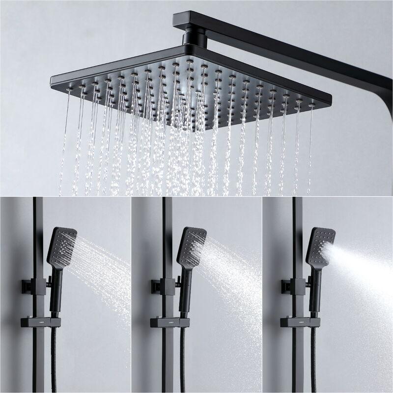 Lonheo Colonne de douche Noir avec /Étag/ère Ensemble de douche sans mitigeur 3 fonctions douchette /à main T/ête de Douche 9.45 pouces Syst/ème de douche pour Salle de bain