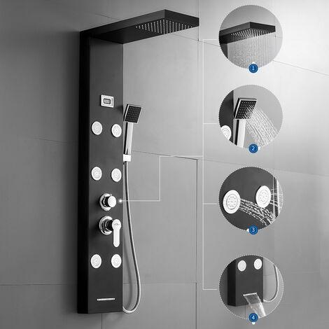 Lonheo Panneau de douche Luxe Carré Noir Colonne de Douche Colonne hydromassante Acier inoxydable Effet Pluie Salle de bain