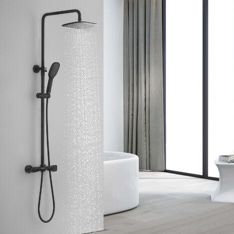 Lonheo Regendusche Duschsystem mit Thermostat Schwarz Duschsäule Duschset Brausegarnitur Duscharmatur Duschsäule Set