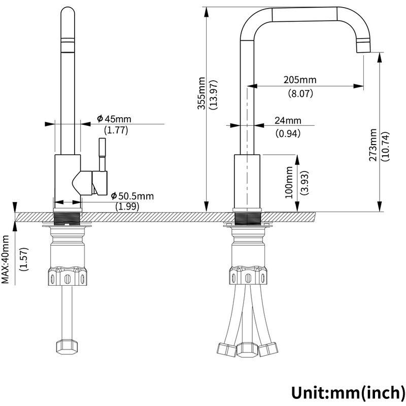 Robinet basse pression en acier inoxydable LONHEO pour cuisine Robinet de cuisine basse pression avec Mitigeur pivotant /à 360 /° pour robinetterie pour /évier