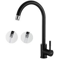 Lonheo Rubinetto Cucina Nero Alto Girevole a 360 ° 2 Funcioni Acqua Fredda e Calda Miscelatore per Lavello Moderno Acciaio Inossidabile 304