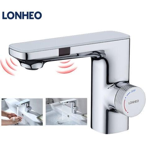 Lonheo Sensor Wasserhahn Bad Waschtisharmatur mit Infrarot-Elektronik, Automatische Waschbeckenarmatur Bad Armatur für Handwaschbecken