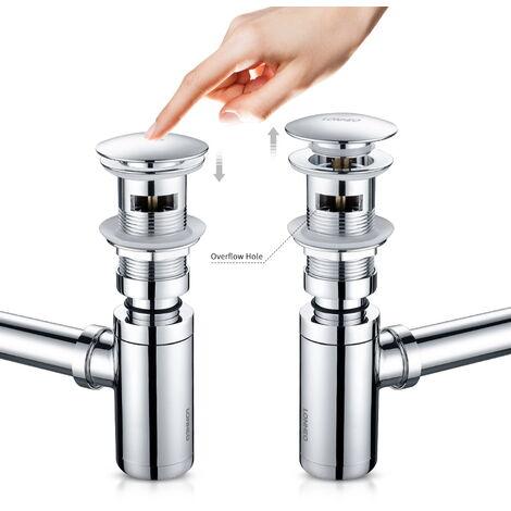 """Lonheo Universal Pop Up Ventil Ablaufgarnitur mit Überlauf + Siphon Set 1 1/4"""" x 32cm Röhrensiphon für Waschtisch/Waschbecken, Messing, Verchromt"""