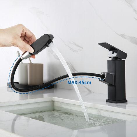 Lonheo Waschtisch Armatur Modernes Schwarz Wasserhahn Bad mit ausziehbarem Brause Einhebelmischer Wasserhähne für Waschbecken und Waschschalen