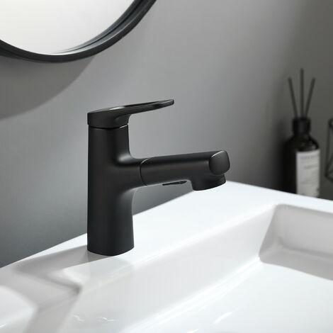 Lonheo Wasserhahn Bad Armatur Mischbatterie Waschtischarmatur Einhandmischer Badarmatur mit ausziehbar Brause, Schwarz