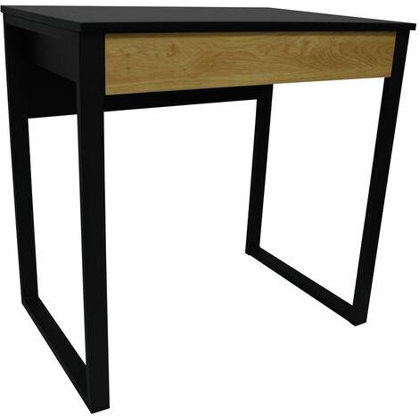 LOOP - Compact Office Workstation / Computer Desk / Dressing Table - Black / Oak