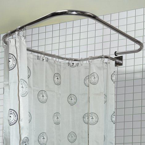 """main image of """"LOOP SQUARE - Stainless Steel Rectangular Shower Rail and Curtain Rings"""""""