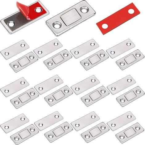 Loquet Magnetique Aimant Porte Placard 12 Pièces Très Mince Loqueteau Magnétiques à Coller Aimant Fermeture Adhesif Meuble Aimant Puissant pour Porte Coulissante Tiroirs Fenetre Aimanté Armoire