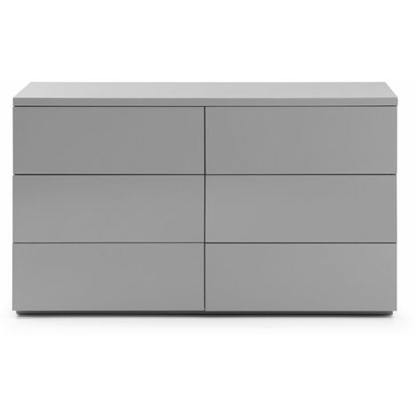 Lorena 6 Drawer Wide Chest Of Drawers Grey Gloss