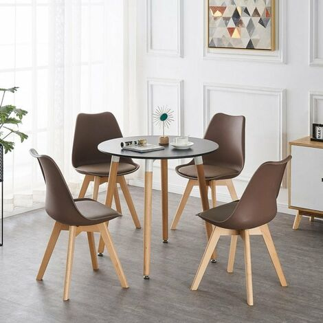 Lorenzo Halo Round Dining Table Set with 4 Chairs (BLACK & BROWN)