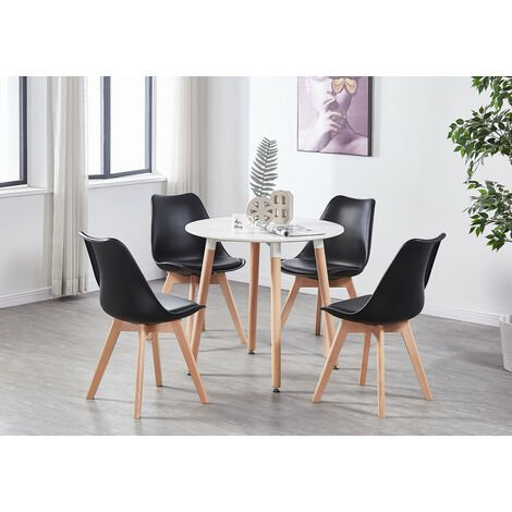 Lorenzo Halo Round Dining Table Set with 4 Chairs (WHITE & BLACK)