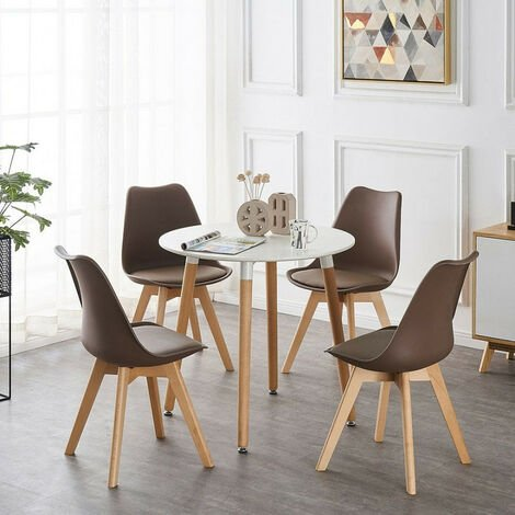 Lorenzo Halo Round Dining Table Set with 4 Chairs (WHITE & BROWN)
