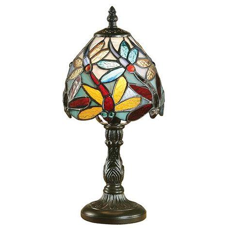Lorette Mini Tiffany Style Table Lamp Floral Design Glass Shade - Interiors