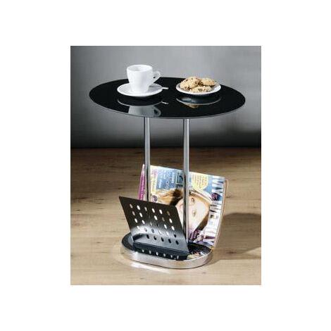 Lorsey Black Glass Coffee Table With Magazine Rack