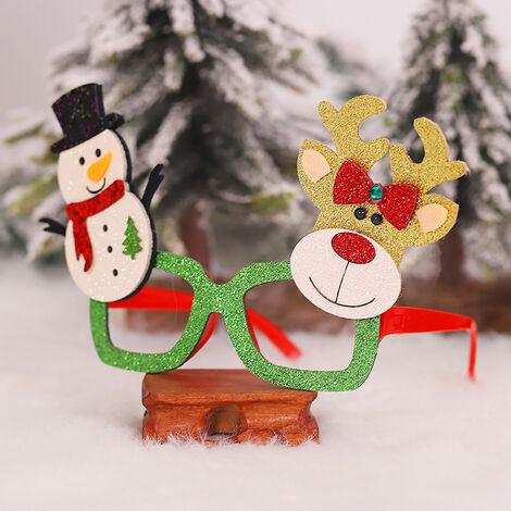 Los favores del marco Fete De Noel del brillo de los vidrios Decoracion fiesta de Navidad en vidrios del vestuario de los vidrios por vacaciones (muneco de nieve y renos)