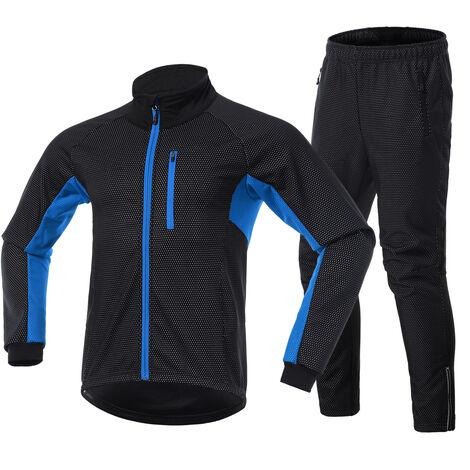 Los hombres en ropa de invierno De bicicletas Conjunto de manga larga Jersey Windstopper pantalones ciclo al aire libre de la bici con un pie Race Sport Activewear Chaqueta, Negro y azul, M