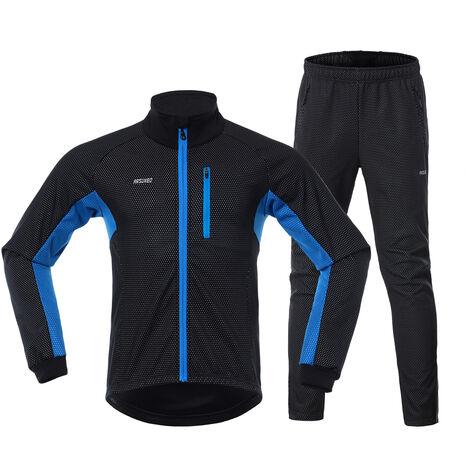 Los hombres en ropa de invierno De bicicletas Conjunto de manga larga Jersey Windstopper pantalones ciclo al aire libre de la bici con un pie Race Sport Activewear Chaqueta, Negro y azul, XXL