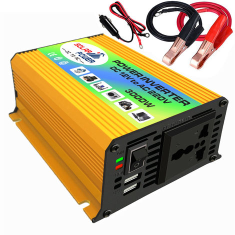 Los picos de potencia, 3000W de onda sinusoidal modificada inversor de alta frecuencia inversor de la energia, DC 12V a 220V AC convertidor