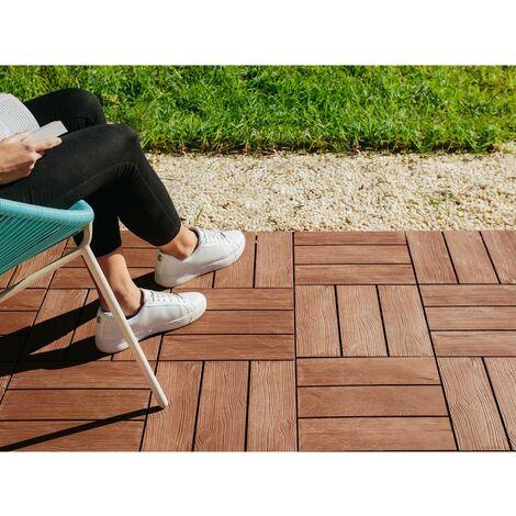Suelo de exterior imitación madera tropical Clickfloor, 9ud