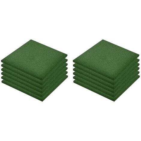 Losetas de goma protección de caídas 12 uds verde 50x50x3 cm