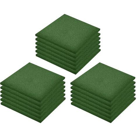 Losetas de goma protección de caídas 18 uds verde 50x50x3 cm