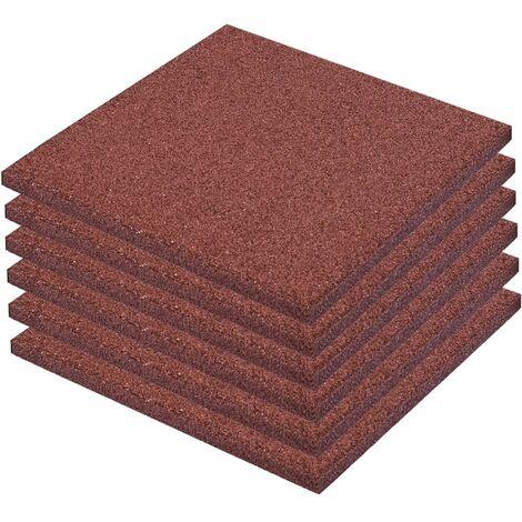 Losetas de goma protección de caídas 6 unidades 50x50x3cm rojo