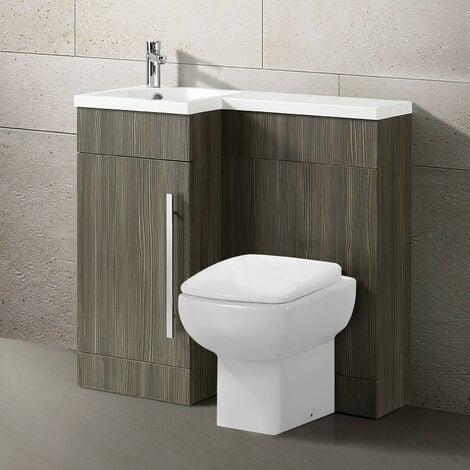 Losia 900mm L Shape Left Hand Bathroom Wood Grey Basin Vanity & WC Unit