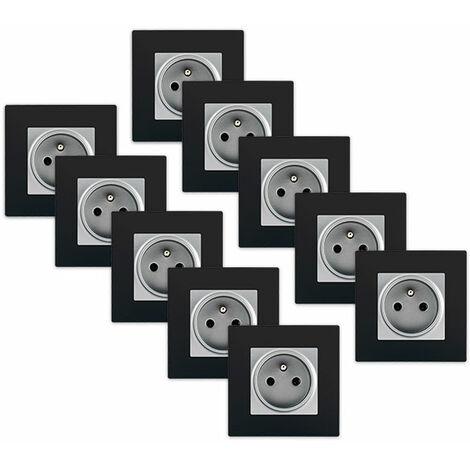 LOT 10 de Prises 2P+T Silver Delta Viva + Plaques Noires - SIEMENS