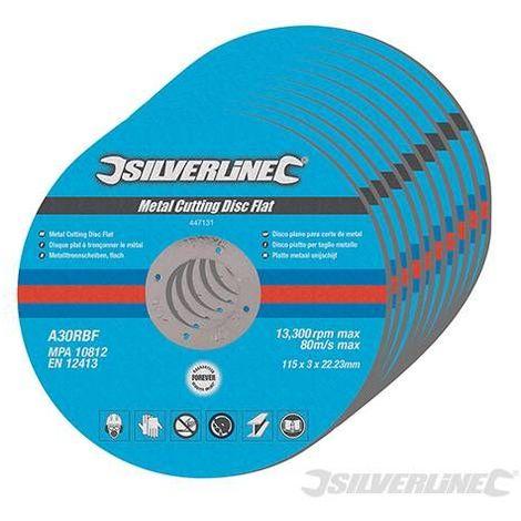 Lot 10 disques plats tronçonnage metal 115 mm / 22.23 mm / 3 mm