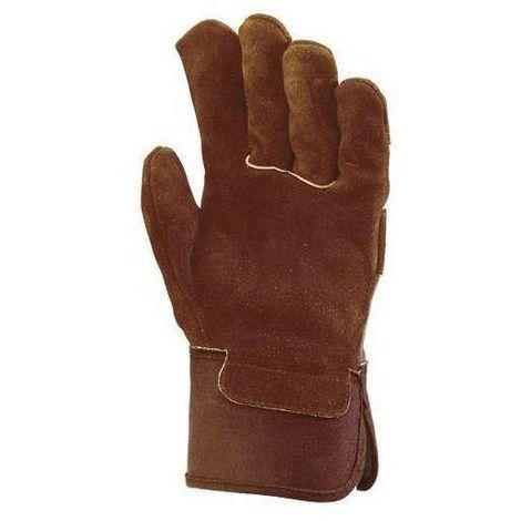 Lot 10 paires de Gants docker croûte vachette, toile marron, paume molletonnée 140 - T. Unique - Coverguard