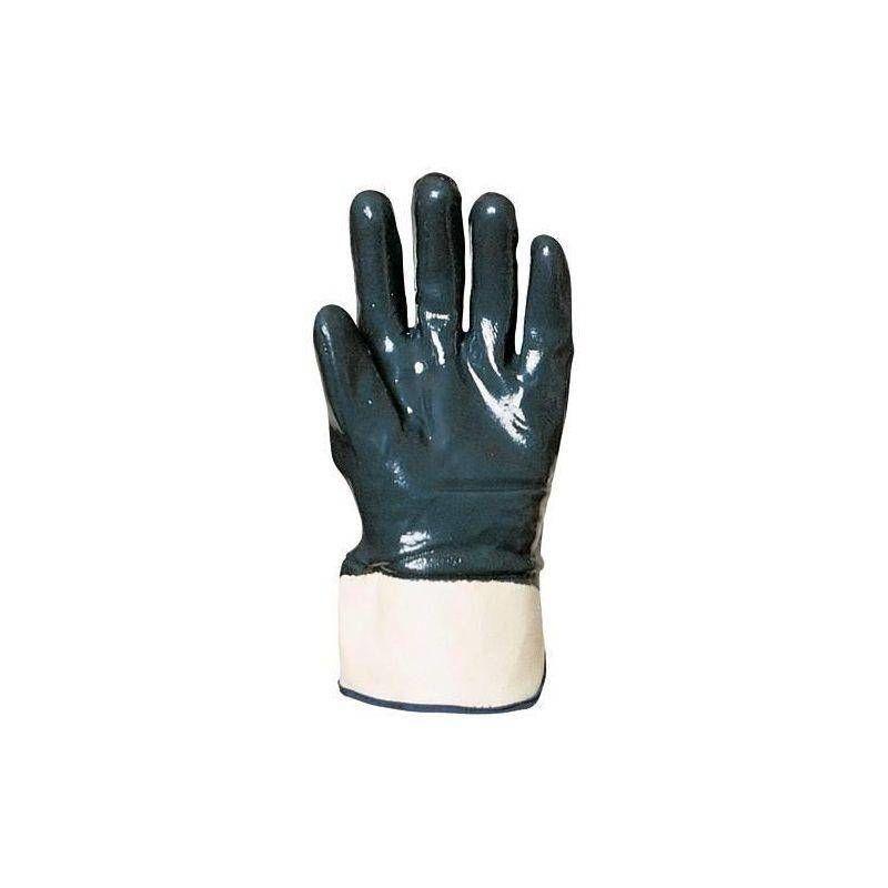 Coverguard - Lot 10 paires de gants nitrile bleu double enduction dos enduit, manchette de sécurité, standard - T. 10
