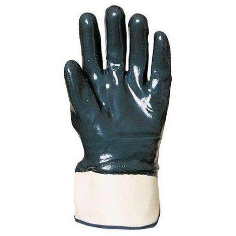 Lot 10 paires de gants nitrile bleu double enduction dos enduit, manchette de sécurité, standard Coverguard