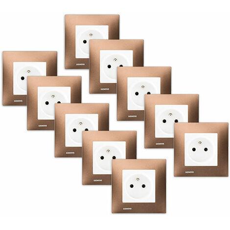 LOT 10 Prise 2P+T Blanc Delta Viva + Plaque Métal Marron - SIEMENS