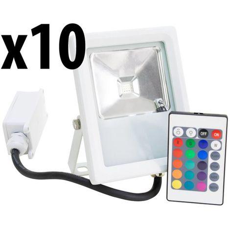 Lot 10 Projecteurs Spot LED extérieur Eclairage RGB couleur avec télécommande