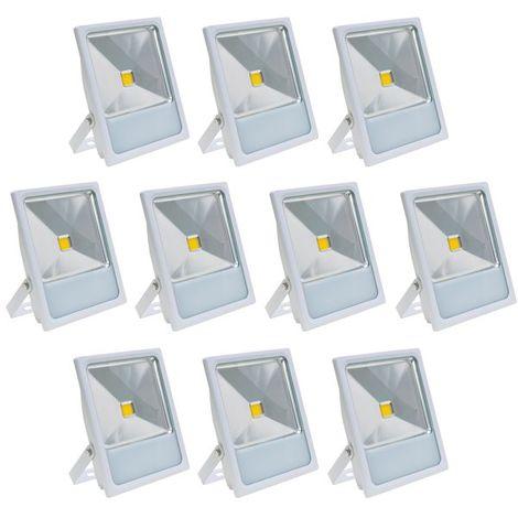 Lot 10 Projecteurs Spot LED extérieur extra plat 50 W Eclairage blanc chaud