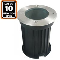 Lot 10 Spots Encastrable de Sol Inox 304 Exterieur IP65 GU10 - LOT10SPSLGU10