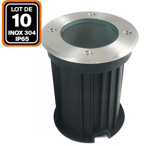 Lot 10 Spots Encastrable de Sol Rond Inox 304 Exterieur IP65 GU10