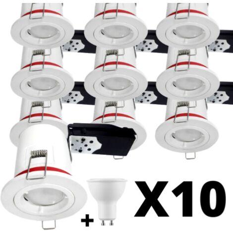 Lot 10 Spots LED 7W GU10 BBC blanc 88 mm Blanc chaud 2700K - douille automatique