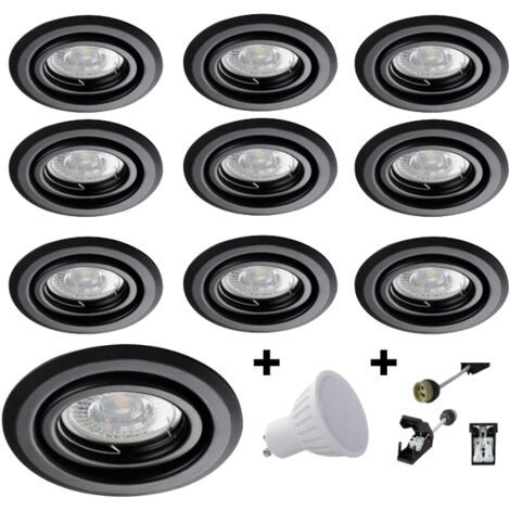 Lot 10 Spots LED 7W orientables rond Noir Blanc chaud 3000K 120