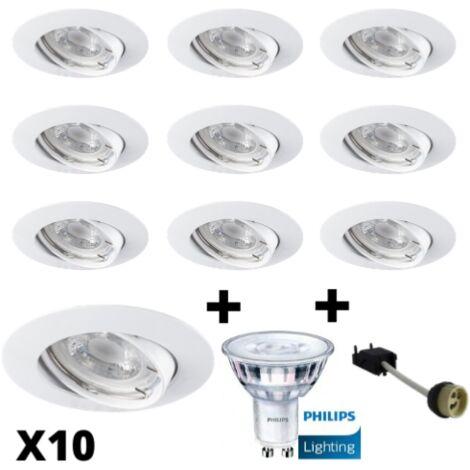 Lot 10 Spots Led GU10 Encastrables Blancs équipés LED Philips 5W dimmables 2700K