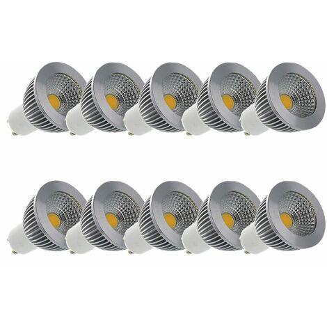 LOT 10 x Spot LED COB 6W (55W) GU10 Dimmable Angle 80° Blanc jour 4000°K ampoule