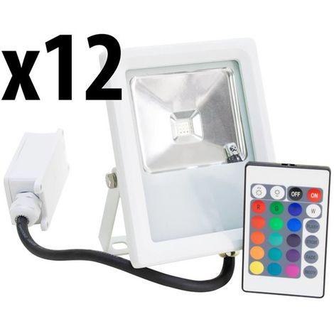 Lot 12 Projecteurs Spot LED extérieur Eclairage RGB couleur avec télécommande